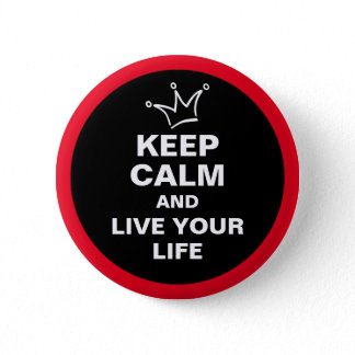 Funny Crown white & KEEP CALM + text Button
