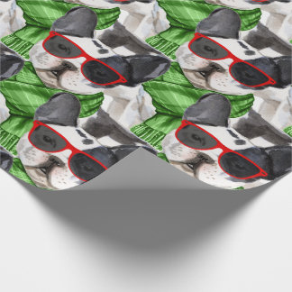 Funny Dog Lover Boston Terrier Christmas Wrapping Paper