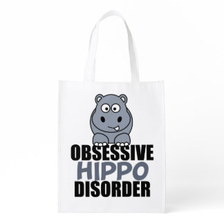 Funny Obsessive Hippo Disorder Reusable Grocery Bag