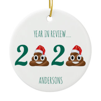 Funny Quarantine Year in Review Christmas Ceramic Ornament