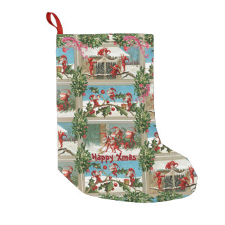 FUNNY RED CHRISTMAS ELVES,HOLLYBERRIES,MISTLETOES SMALL CHRISTMAS STOCKING