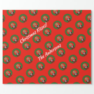 Funny Trump  Pucker and Green Wreath Christmas Wrapping Paper