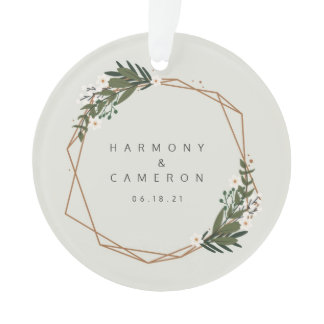 Geometric Newlywed Photo Our First Christmas Ornament