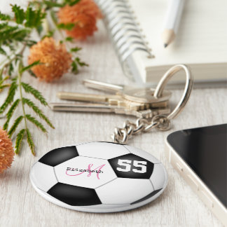 girly black and white soccer ball personalized keychain