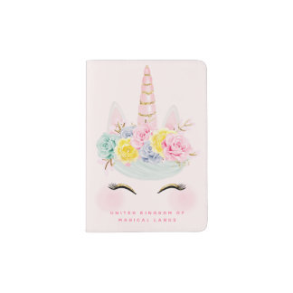 Girly Floral Unicorn Pink Gold Personalized Passport Holder