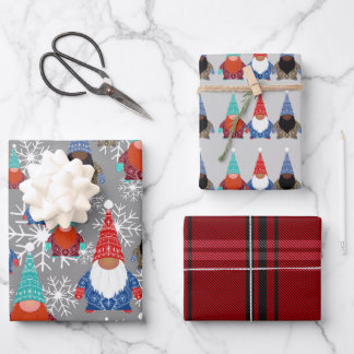 Gnome Snowflake Illustrations Christmas Pattern Wrapping Paper Sheets