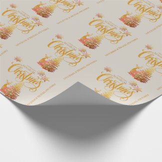 Gold Christmas Tree & Deer Champagne Personalized Wrapping Paper