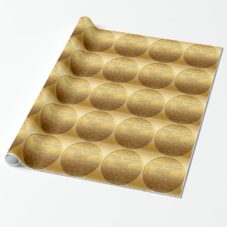 Gold International Christmas Wrapping Paper