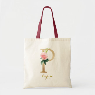 Gold Letter P and Blush Floral Personalized Tote Bag