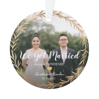 Gold Photo Married During Pandemic Christmas Ornament