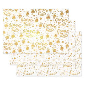 Golden Hand Lettered New Year Party Foil Wrapping Paper Sheets