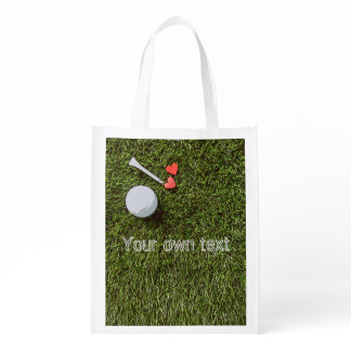 Golf ball and tee with love on green Par tee Grocery Bag