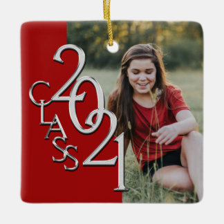 Graduation 2021 Class with Photo Red Silver Ceramic Ornament