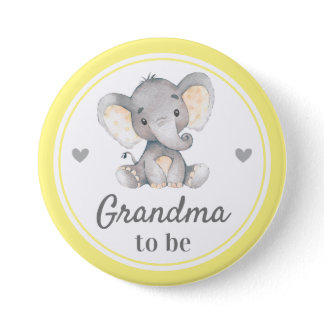 Grandma to be Granny Yellow Elephant Baby Shower Button