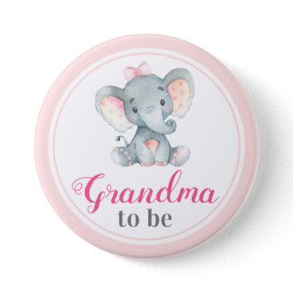 Grandma to be New Granny Baby Girl Shower Elephant Button