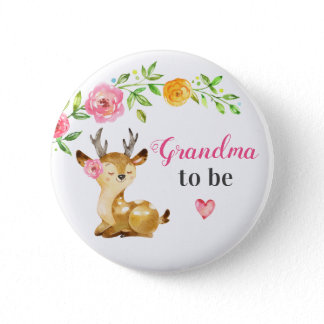 Grandma to be New Granny Baby Girl Shower Woodland Button