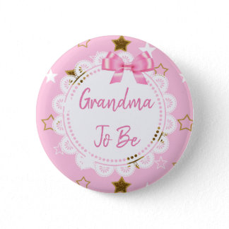 Grandma to be Pink and Gold Stars Button