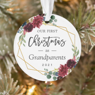 Grandparents First Christmas Burgundy Floral Photo Ornament