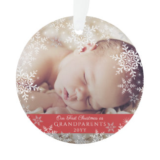 Grandparents First Christmas Snowflakes Baby Photo Ornament