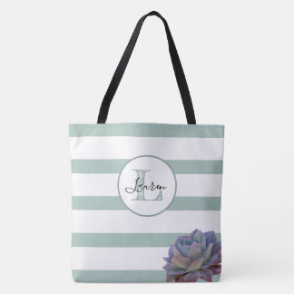 Gray Stripe and Succulent Monogrammed Personalized Tote Bag