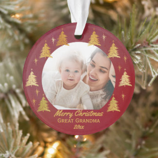 Great Grandma Christmas Photo Red and Gold Ornament
