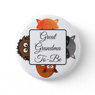 Great Grandma To Be Button Fox Woodlands Theme
