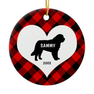Great Pyrenees dog breed name + date Red Plaid Ceramic Ornament