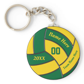 Green and Gold Volleyball Party Favors Keychains