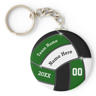Green, Black and White Custom Volleyball Keychains