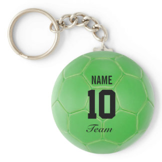 Green Black Team Soccer Ball Personalized Name Keychain