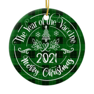 Green Plaid Year of the Vaccine 2021 Christmas Ceramic Ornament