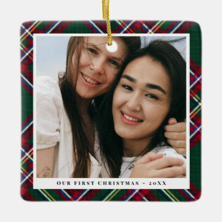 Green Red Plaid First Christmas Together Photo Ceramic Ornament