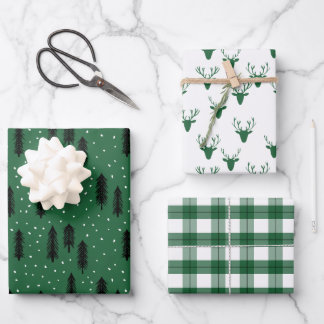Green Rustic Holiday Patterns Woods Trees Plaid Wrapping Paper Sheets