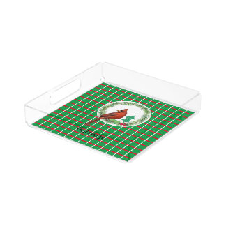 Green Squares With Red & White Lines Acrylic Tray