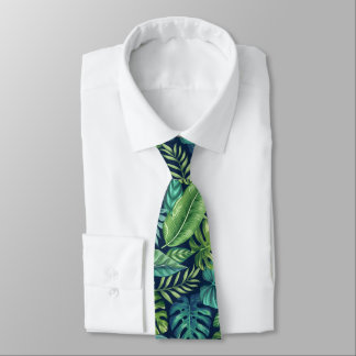 Green & Teal Tropical Palm Banana Monstera Leaves Neck Tie