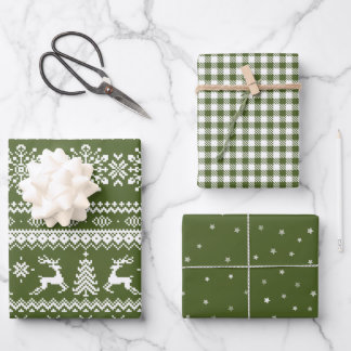 Green ugly Christmas sweater buffalo plaid & stars Wrapping Paper Sheets