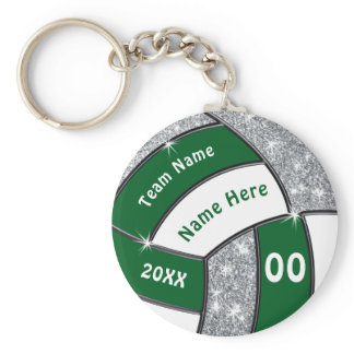 Green, White and Silver Cheap Volleyball Giveaways Keychain