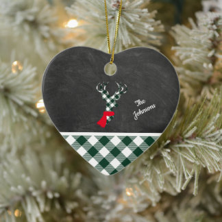 Green White Plaid Reindeer Chalkboard Personalized Ceramic Ornament
