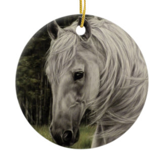 Grey white horse running in meadow ceramic ornament
