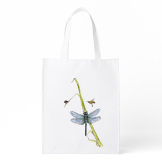 grocery bag with ladybug, bee and dragonfly