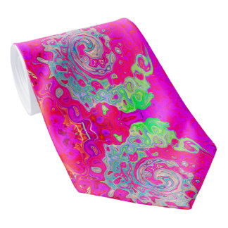 Groovy Abstract Teal Blue and Red Swirl Neck Tie