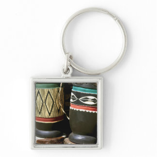 Hand carved drums, Livingston, Zambia Keychain