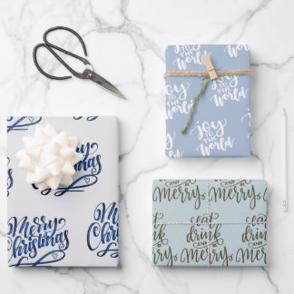 Handwritten Christmas Greetings Grey Blue Green Wrapping Paper Sheets