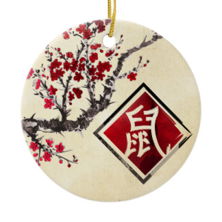 Happy Chinese New Year of The Rat - 2020 Ceramic Ornament