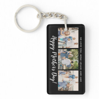 Happy Mother's Day Photo Collage Custom Black Keychain