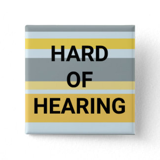 Hard of Hearing Modern Stripes Yellow Gray Simple Button