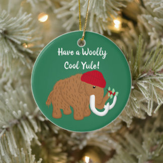 Have a Woolly Cool Yule Funny Mammoth Christmas Ceramic Ornament
