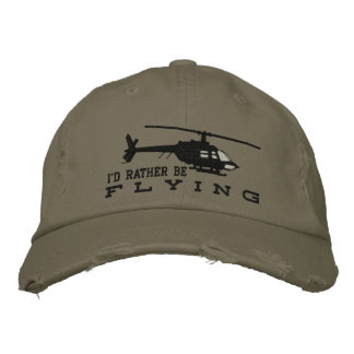 Helicopter Chopper Silhouette Rather Be Flying Embroidered Baseball Cap