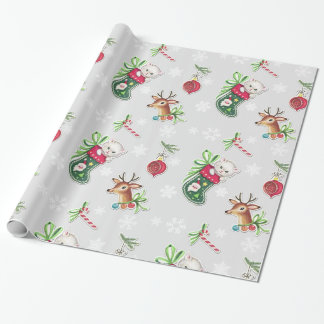 Hello Kitten Christmas Wrapping Paper on Gray