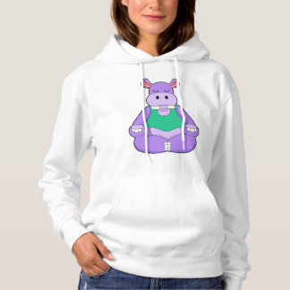 Hippo at Yoga in Sitting Hoodie